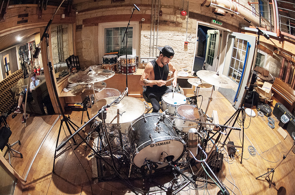 Ben Joliffe of Young Guns recording at Real World photographed by Marcus Maschwitz