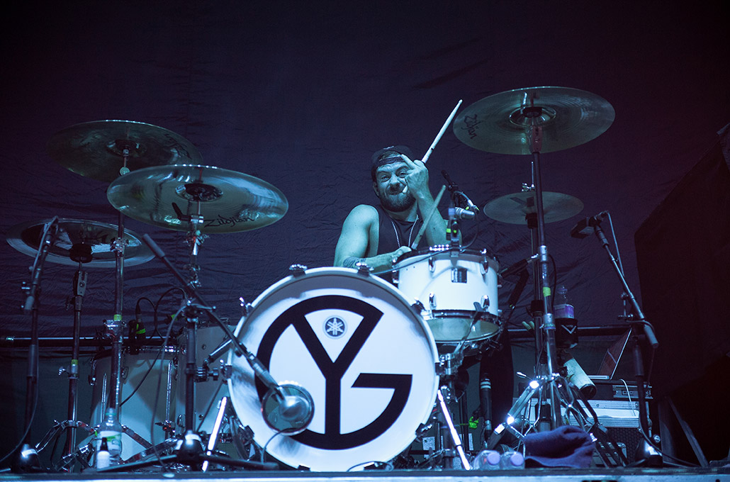 Ben Joliffe of Young Guns drumming hi photographed by Marcus Maschwitz