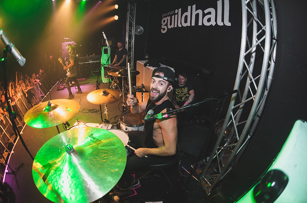 Ben Joliffe of Young Guns drumming at Guildhall photographed by Marcus Maschwitz