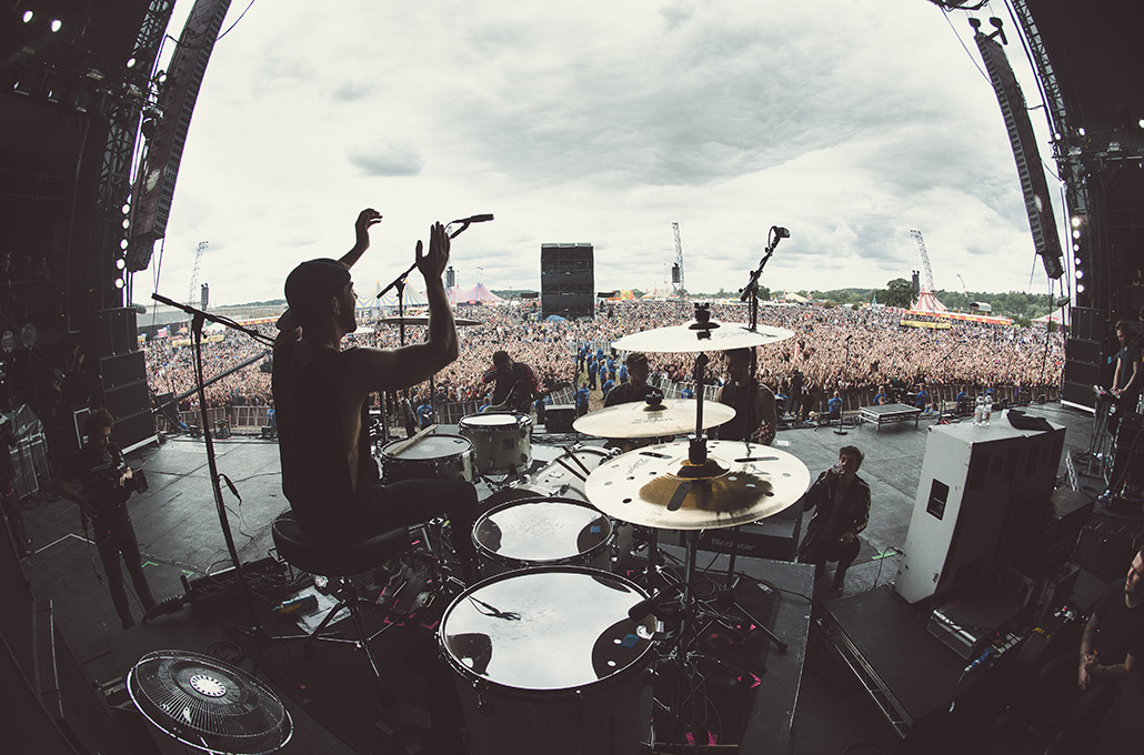 Young Guns drummer Ben Joliffe at Reading Festival photographed by Marcus Maschwitz