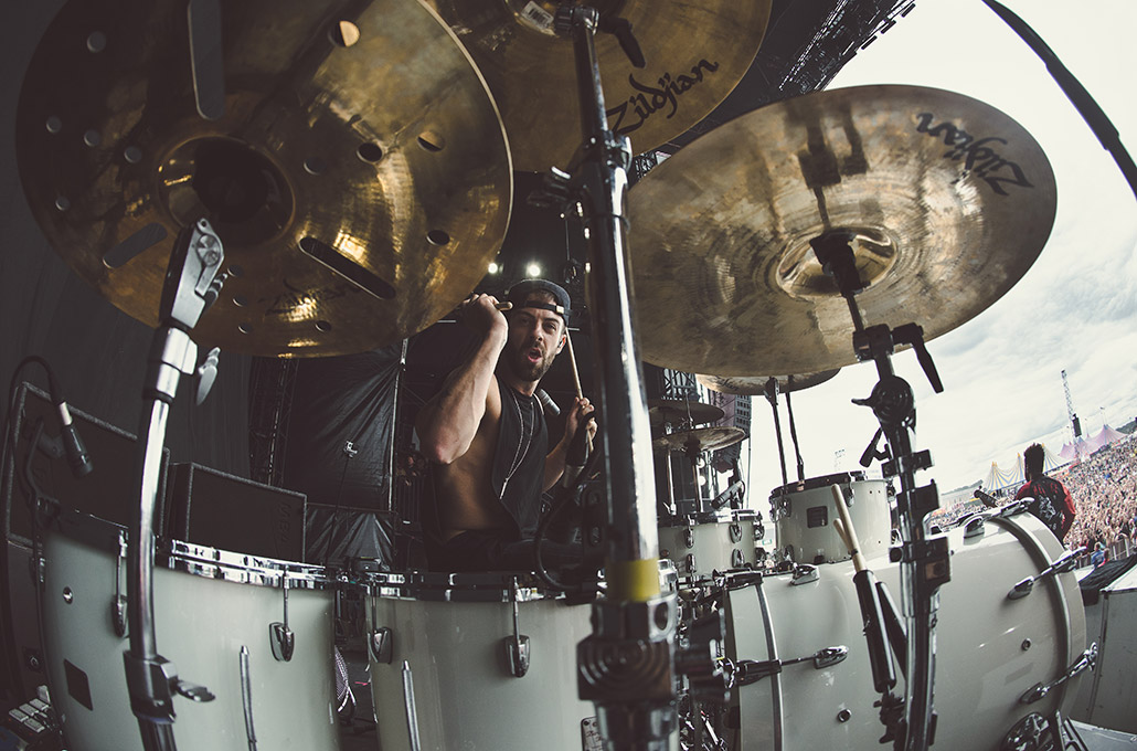 Young Guns drummer Ben Joliffe at Leeds Festival photographed by Marcus Maschwitz