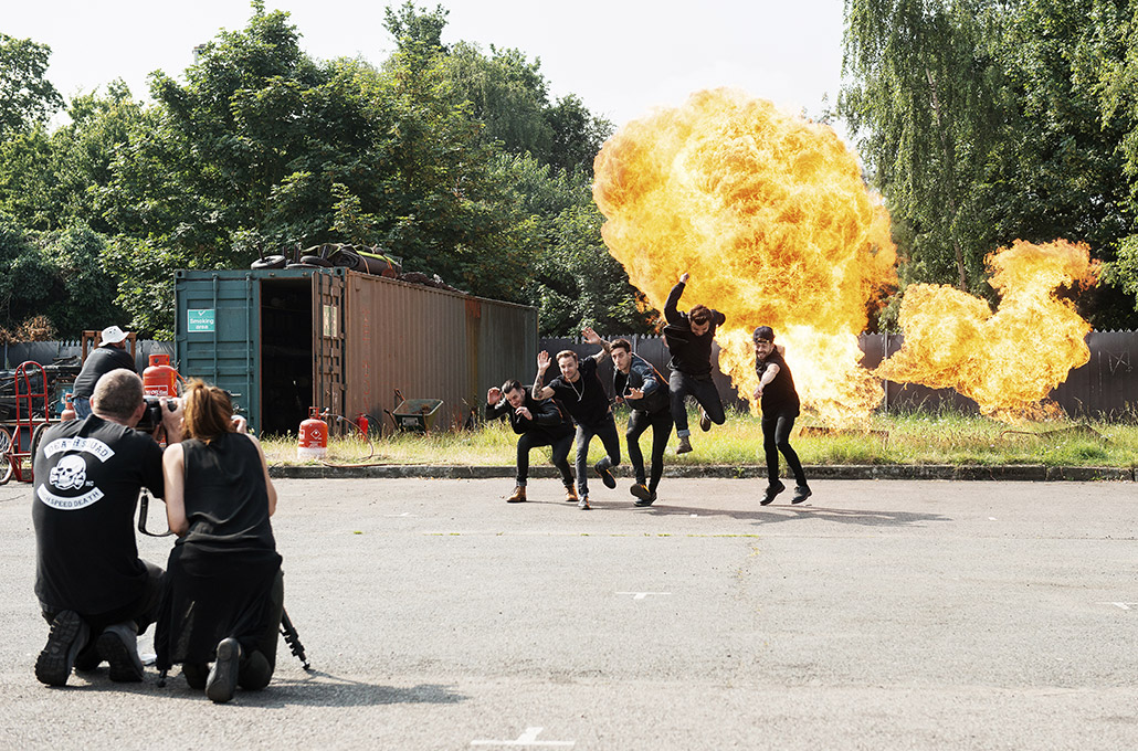 Young Guns on set with an explosion photographed by Marcus Maschwitz