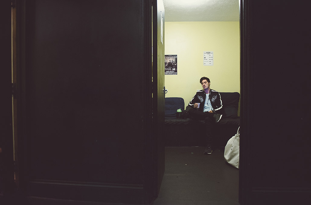Gustav Wood of Young Guns backstage photographed by Marcus Maschwitz