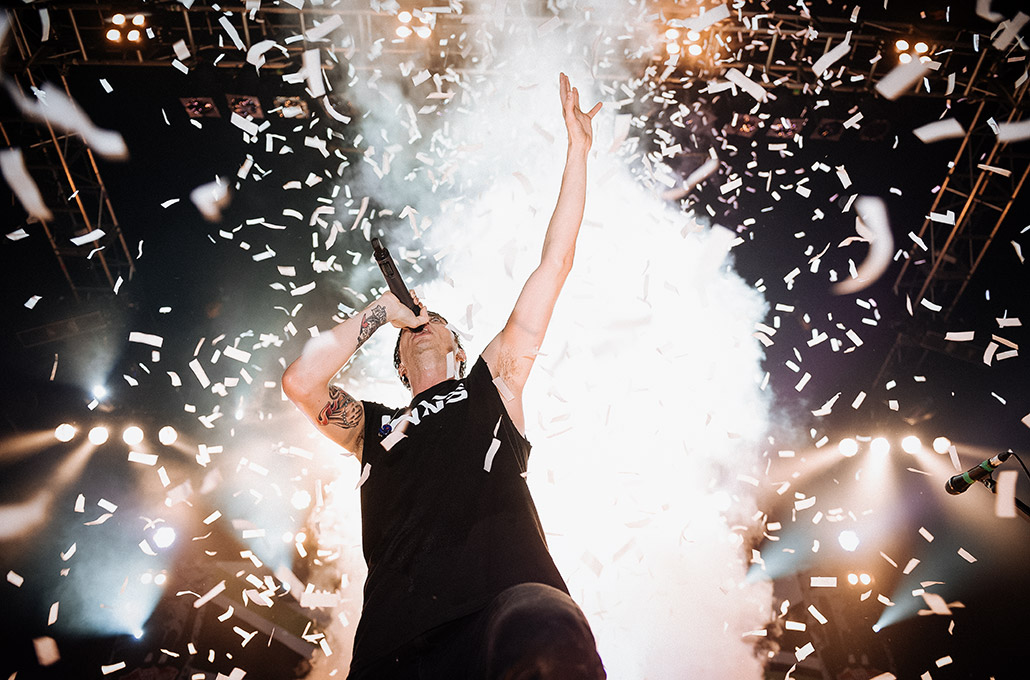 Gustav Wood of Young Guns playing in confetti photographed by Marcus Maschwitz