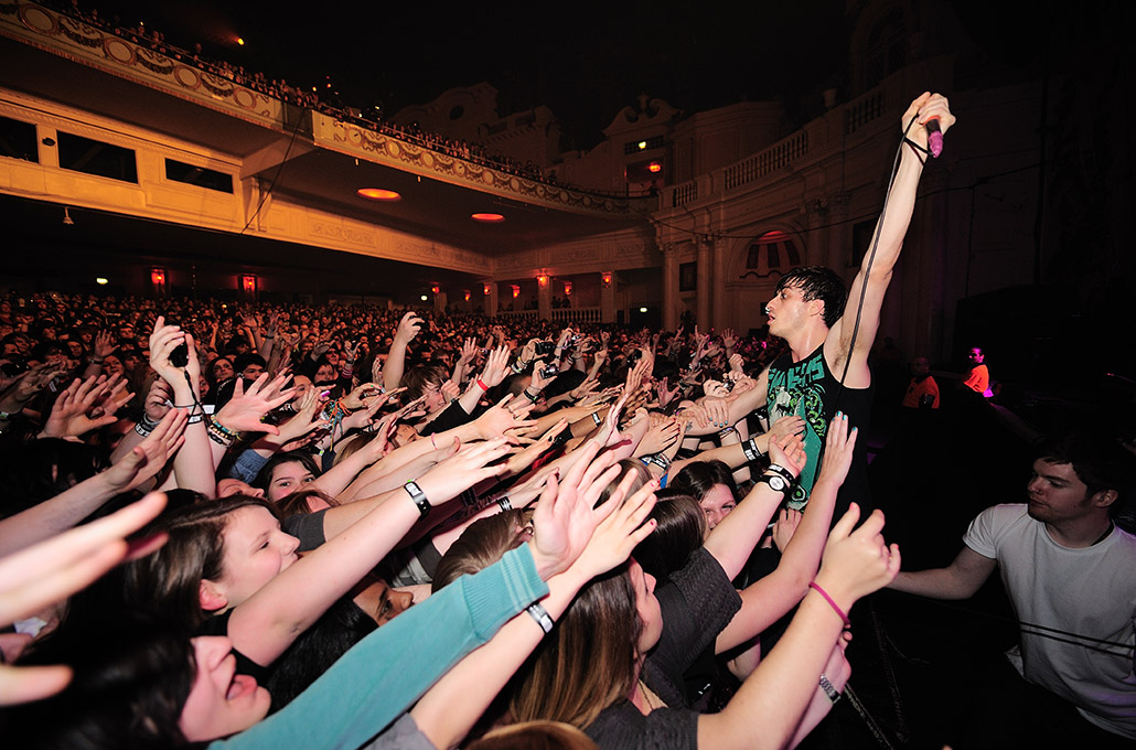 Gustav Wood of Young Guns with the crowd in Hammersmith Apollo photographed by Marcus Maschwitz