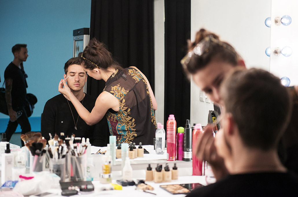 Gustav Wood of Young Guns on set getting make-up photographed by Marcus Maschwitz