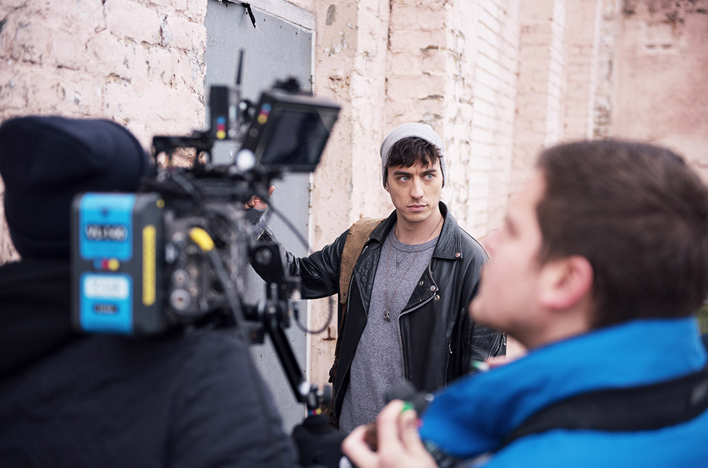 Gustav Wood of Young Guns on set photographed by Marcus Maschwitz