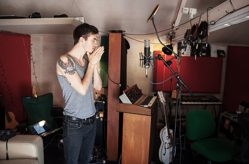 Gustav Wood of Young Guns in studio at Real World photographed by Marcus Maschwitz