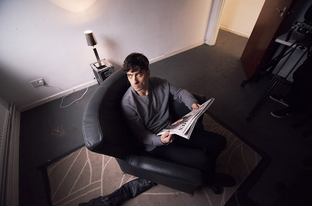 Gustav Wood of Young Guns backstage on set photographed by Marcus Maschwitz