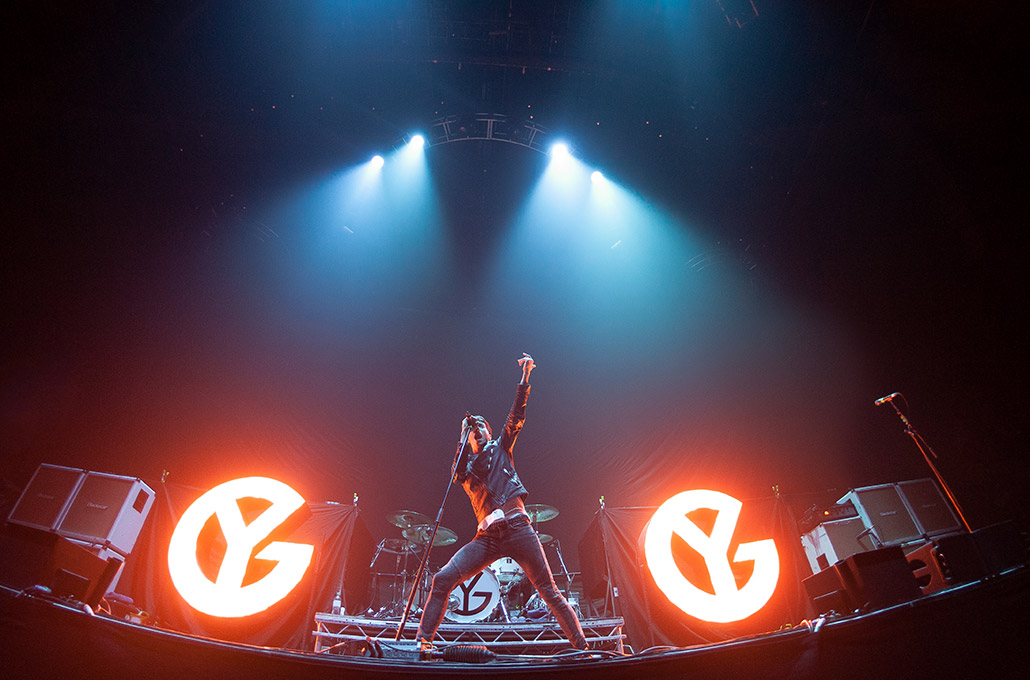 Gustav Wood of Young Guns on stage at Wembley Arena photographed by Marcus Maschwitz