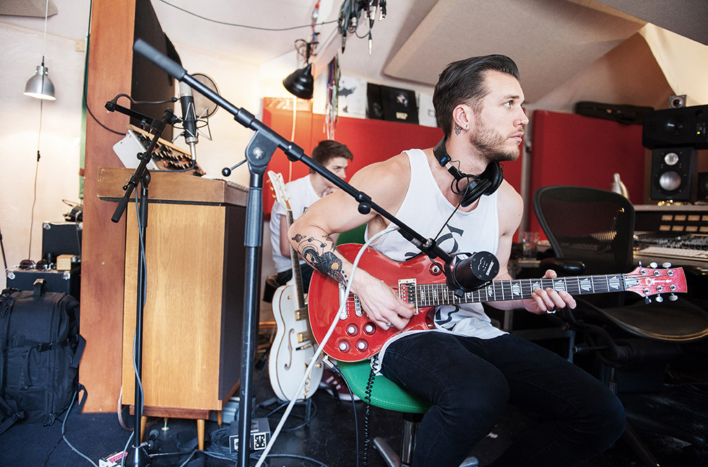 John Taylor of Young Guns recording in studio at Real World photographed by Marcus Maschwitz