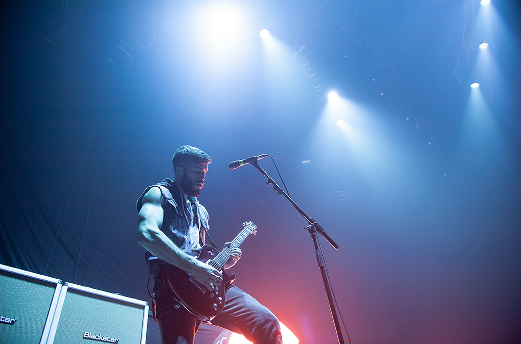 John Taylor of Young Guns live on stage at Wembley Arena photographed by Marcus Maschwitz