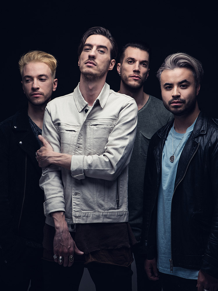 Young Guns band promo portrait as a 4 piece photographed by Marcus Maschwitz