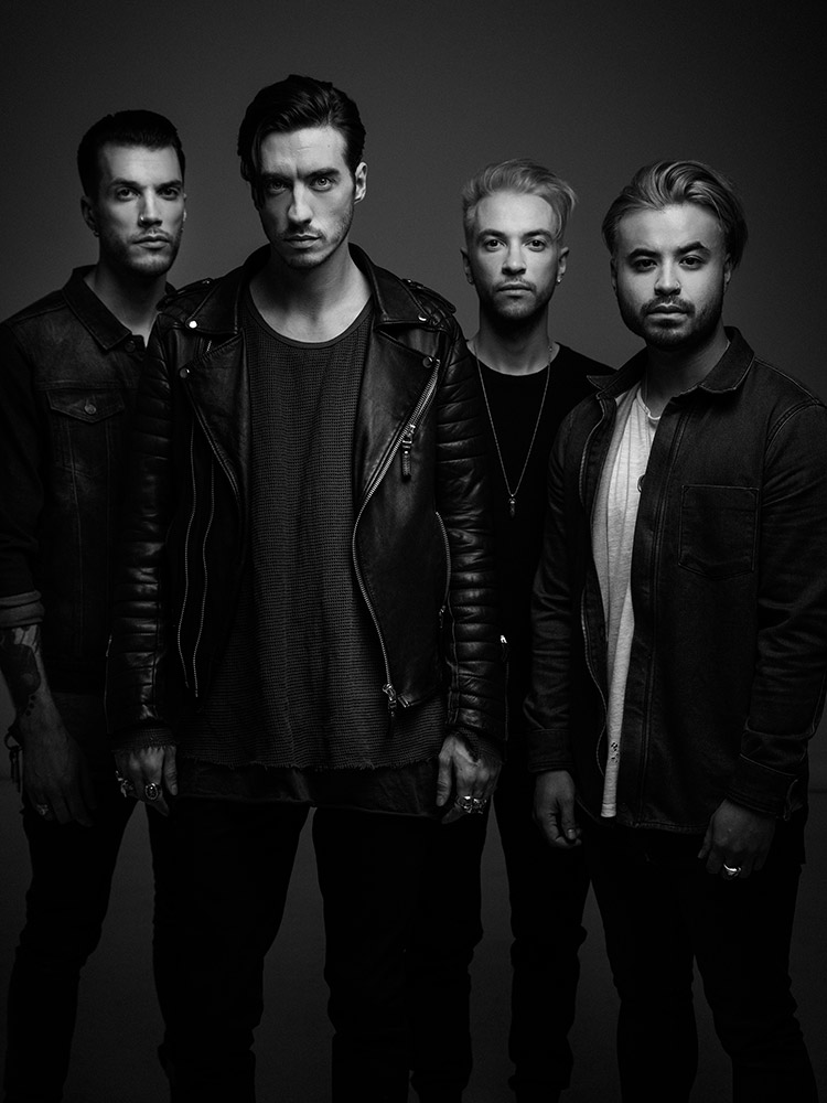 Young Guns band promo portrait as a 4 piece in B&W photographed by Marcus Maschwitz
