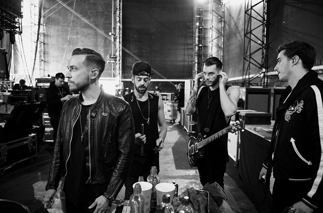 Young Guns band backstage at Reading Festival photographed by Marcus Maschwitz
