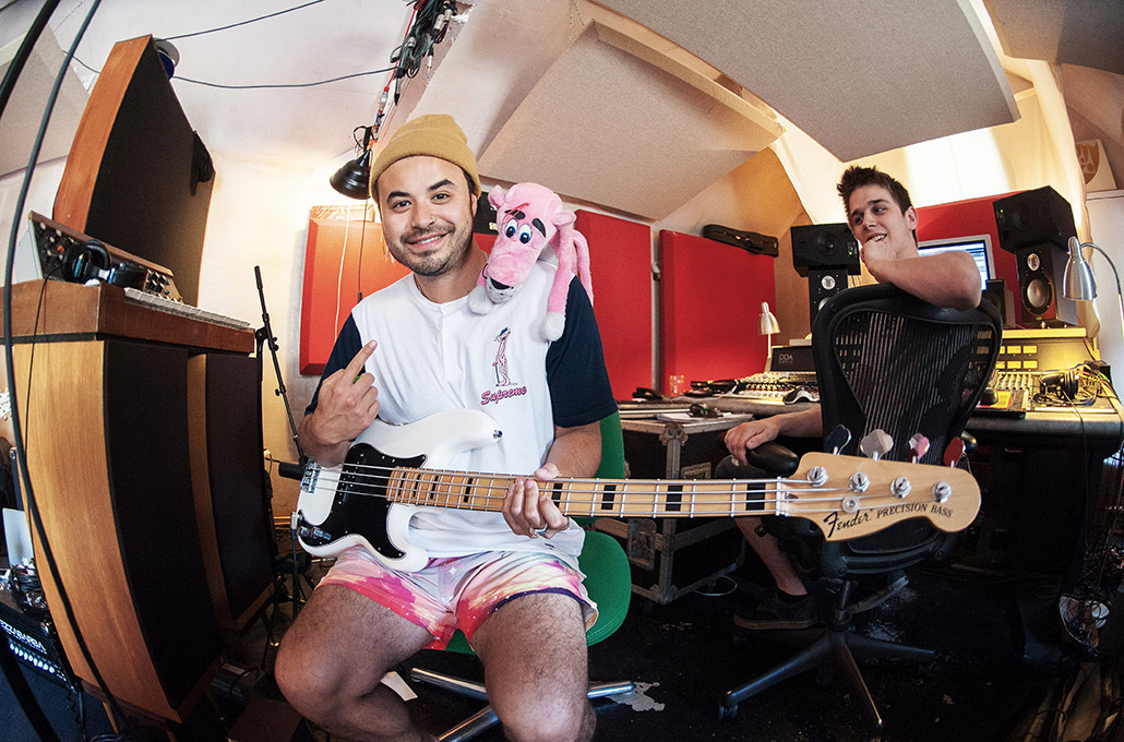 Simon Mitchell of Young Guns with Pink Panther in Real World Studios photographed by Marcus Maschwitz