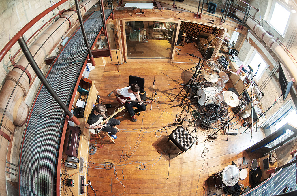 John and Fraser of Young Guns recording guitars in Real World Studios photographed by Marcus Maschwitz