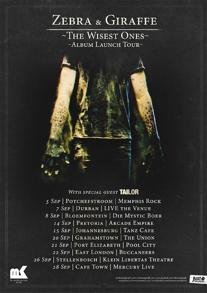 Zebra & Giraffe - The Wisest Ones tour poster artwork photographed by Marcus Maschwitz